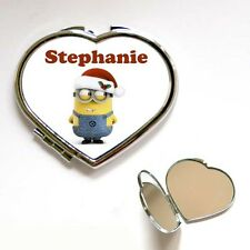 Personalised Christmas Minion Heart / Square Compact Make Up Mirror Gift Present