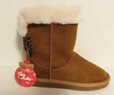SONOMA LIFE Sniberia Tan Cute GIRL'S Winter Boots Faux Suede Short Ankle w/Bow