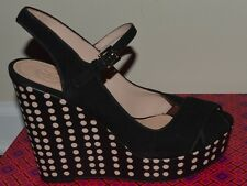 New TORY BURCH OLLIE Wedges Wedge Polka Dot Shoes Black Suede Grossgrain $325