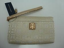 TOMMY HILFIGER Wristlet Clutch*Gold/Beige w/Gold Tone*Cellphone Holder New