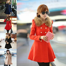 Fashion Women Slim Wool Faux Fur Trench Coat Parka Double-Breasted Winter Jacket