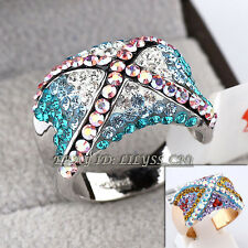Fashion Multi-Color Cocktail Ring 18KGP Rhinestone Crystal Size 6