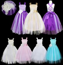 Kids Princess Bridesmaid Flower Girl Dresses Wedding Party Tulle Dress Ball Gown