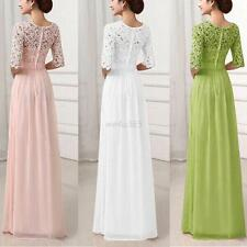 Womens Formal Lace Long Dress Ladies Evening Party Bridesmaid Wedding Prom Dress
