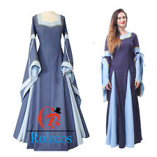 Renaissance Medieval Women Long Sleeves Square Collar Party Custome Dress