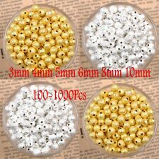 1000pcs Silver Gold plating Stardust Copper Ball Spacer Beads 3/4/5/6/8/10mm