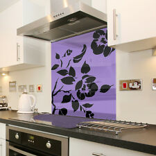 Lilac Floral With Black Flower Toughened Glass Splashback - Various Sizes