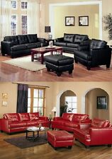 Samuel Black/Red Bonded Leather Sofa Loveseat Couch Contemporary 2pc Set Coaster