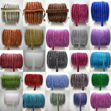 "5/30/200Yards 3/8 ""10mm Glitter Velvet Ribbon Headband Clips Bow Decoration J"