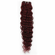 16''~26'' 120g Weft Hair Curly Weaving Real Human Hair Extensions Burgundy Red