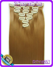 130g Honey Blonde Hairpiece Straight Synthetic Clip In Hair Extensions Full Head