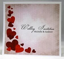 Wedding Invitations personalised with envelopes, day or  evening Grunge Heart