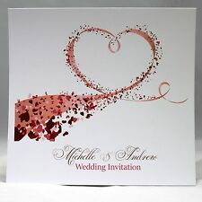 Wedding Invitations personalised with envelopes, day/evening Heart Swirls