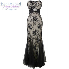 Angel-fashions Strapless Lace Embroidery See-through Lace up Party Dress 070