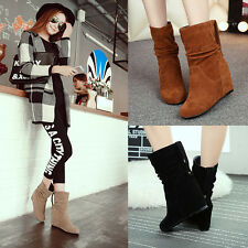 Sweet Women Faux Suede Hidden Wedge Heels Slouch Ankle Boots Shoes Plus
