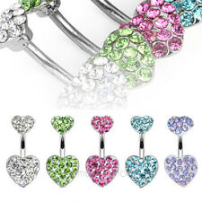 Stainless Steel Crystal Double Heart Body Piercing Belly Bar Button Navel Ring