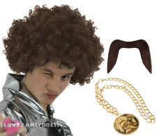 MENS 70S BROWN AFRO WIG MOUSTACHE AND MEDALLION NECKLACE FANCY DRESS COSTUME