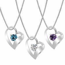 Sterling Silver Amethyst, Blue Topaz or Created White Sapphire Heart Pendant