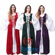 Vintage Women Renaissance Medieval Game Gown Retro Cosplay Costume Dress Chemise
