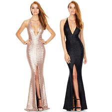 Sexy Womens Sequins Bodycon Dress Party Cocktail Evening Gown Split Long Dresses