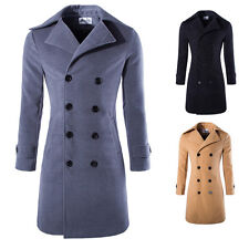 Hot Sale Men's Slim Fit Long Coat Double Breasted Jacket Outwear Spring Autumn