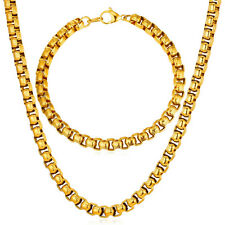 7MM Stainless Steel Box Chain Necklace Bracelet Cool Mens' Jewelry Set 18-30inch