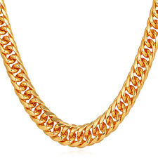 9MM Franco Curb Chain Necklace 18K Gold Plated Chunky Mens' Jewelry 18-30inch
