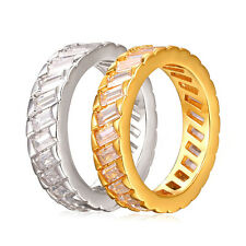 Full Cubic Zircon Band Ring 18K Gold Plated Engagement Men/Women Ring Size 6-11