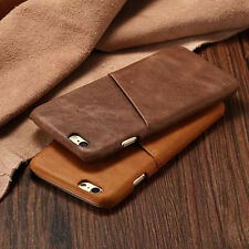Genuine Leather Case Card Slot Holder Back Skin Cover For Apple iPhone 6 6s Plus