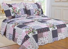 98- All For You 3PC quilt set, bedspread and coverlet with patchwork Prints