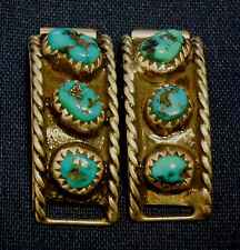 NATIVE AMERICAN STERLING Silver Turquoise Vintage WATCH ENDS