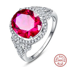 Free Jewelry Box Bridal Oval Cut Ruby 100% 925 Sterling Silver Ring Size 6 7 8 9