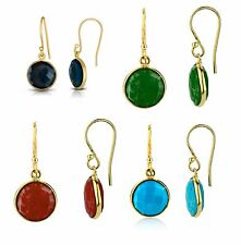 Yellow Gold Over Sterling Silver Onyx, Turqoise, Coral, Emerald, Dangle Earrings