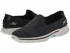 14038 EW Wide Fit Black Skechers Shoe Go Walk 3 Women Soft Fabric Casual Slip On