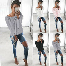 New Women's Causal Loose Long Sleeve Shirts Pull-Over T-Shirt Blouses Tops S M L