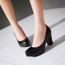 Ladies' New Shoes Synthetic Leather Platform High Block Heels Pumps US Size