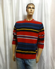 Tommy Hilfiger mens winter Lambswool striped crewneck pullover sweater L XL NEW