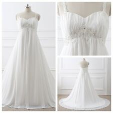 Plue Size Beach Chiffon In Stock White/Ivory Wedding Dress Bride Gown Size 4-26W