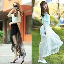 Summer Women Gauze Through Mesh Lace Sheer Floral Gothic Long Maxi Skirt Dress