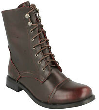 F50270- Ladies Spoton Combat/Militart Style Burgundy Boots- Great Price