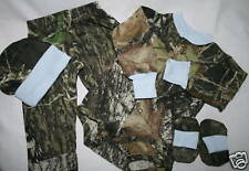 MOSSY OAK CAMO 4 PC BABY INFANT SET - CAMOUFLAGE BOY DIAPER SHIRT, BLUE TRIM