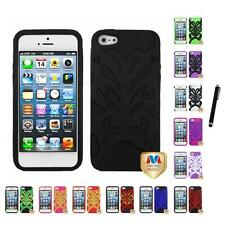 For Apple iPhone 5/5S/SE Butterfly Hybrid IMPACT Armor Case Cover Stylus Pen