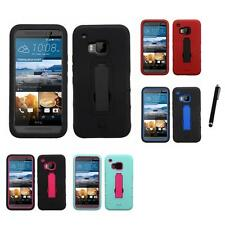 For HTC One M9 Kickstand Case Heavy Duty Hard Soft Case Phone Cover Stylus Pen