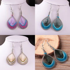 Fashion Womens Silver Plated Feather Dangle Long Drop Hook Earrings Jewelry Gift