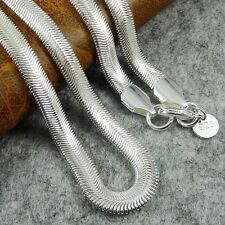 6mm Flat Solid 925 Silver Sterling Snake Chain Necklace 16 18 20 22 24 Inch UK
