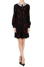 SAINT LAURENT New Woman Black guitar embroidery Pleated dress silk Made France