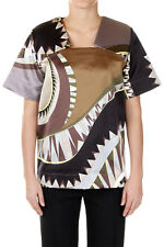 EMILIO PUCCI Woman Printed Mixed Cotton Top Made in Italy New with Tags Original
