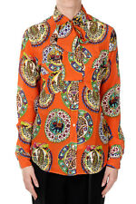 STELLA JEAN New woman orange Silk Floral Printed shirt Blouse Made in Italy