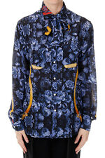 STELLA JEAN New woman Blue Silk Floral Printed shirt Blouse Made in Italy