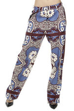 VALENTINO Women Patterned Silk Multicolor Trousers Pants Made in Italy New